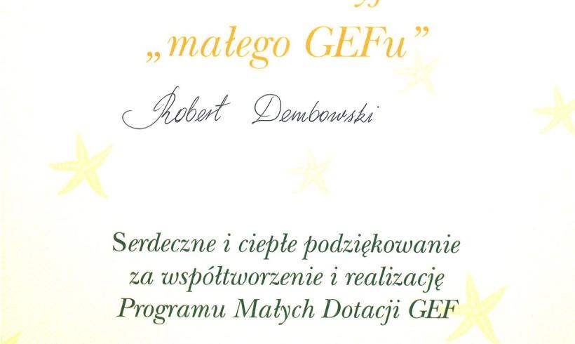 """Certyfikat """"Wielki Przyjaciel małego GEF-u"""""""