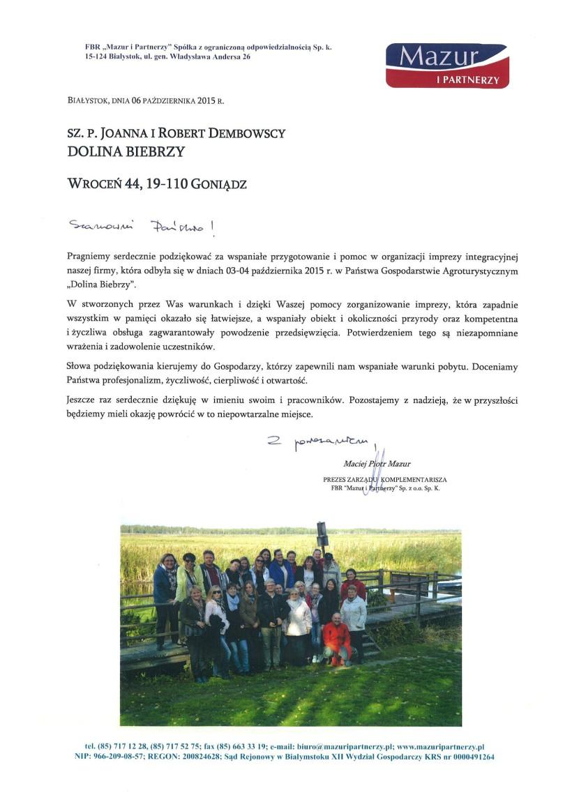 """Impreza integracyjna FBR """"Mazur i Partnerzy"""" Sp. z o.o. Sp. k."""